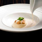 Next Escoffier Paris Menu - Puree Palestine Jerusalem artichoke soup with hazelnuts